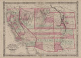 Map of California, with territories of Utah, Nevada, Colorado, New Mexico, and Arizona, 1864