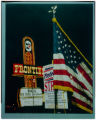 Transparency of Frontier Hotel, flag, and picket sign, Culinary Union, Las Vegas (Nev.), 1990s...