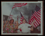 Photograph of Hattie Canty and Jim Arnold at the MGM Grand rally, Culinary Union, Las Vegas...
