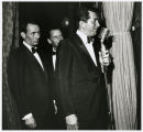 Photograph of Joey Bishop, Frank Sinatra, and Dean Martin backstage, Las Vegas, early 1960s