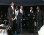 Photograph of the Rat Pack performing together in the Copa Room, Las Vegas, 1960