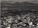 Aerial photograph of downtown Las Vegas looking east toward Frenchman Mountain, post-1953
