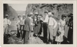 Photograph of a group of people next to the Colorado River at the south end of Black Canyon, 1931