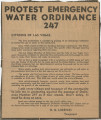 Newspaper clipping, Protest emergency water ordinance 247, Las Vegas Review-Journal, July 26, 1939
