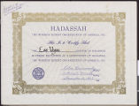 Hadassah certificate of constituency for the Las Vegas Chapter, December 16, 1963