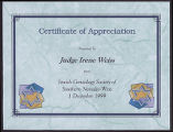 Certificates for members of the Jewish Genealogy Society of Southern Nevada West, 1999