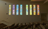 Photograph of Abbey stained glass art in Temple Beth Sholom Sanctuary, Las Vegas, Nevada, February...