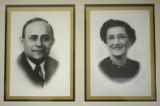 Photographs of portraits and events mounted in the hallway at Temple Beth Sholom