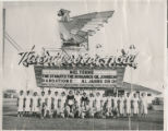 Black and white photograph of the staff (mostly housekeeping) at the Thunderbird Hotel and Casino...