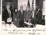 Autographed group portrait photograph of North Las Vegas Council members with Senator Richard...