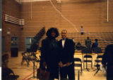 Photograph of Marzette Lewis with Charles I. West Middle School band director Anthony Marentic