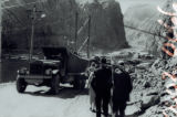 Photograph of people walking towards the Hoover Dam construction site, circa 1931-1934