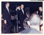 Photograph of Dean Martin on his opening night at the Sands Hotel and Casino Copa showroom,...