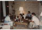 Photograph of Donn Arden and others discussing his upcoming production at the MGM, July 19, 1984.