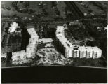 Aerial photograph of an unknown hotel and golf course, location unknown, circa 1950s-1960s