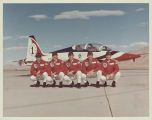 Photograph of Thunderbirds pilots next to a plane, Nellis Air Force Base, Nevada, August 7, 1974