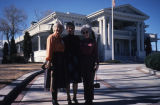 Slide of Jean Ford with two unidentified women outside of the Nevada State Governor's Mansion,...