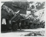 Photograph of construction equipment and trucks, Hoover Dam, 1930s