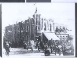 Photograph of the Palace hotel decorated for the railroad days celebration in Goldfield (Nev.),...
