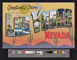 Postcard with illustrations of attractions in and around Las Vegas, Nevada, captioned...