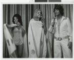 Photograph of three Minsky's Burlesque cast members at the Aladdin Hotel, Las Vegas (Nev.), 1972