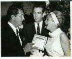 Photograph of Dean Martin with Robert Brandt and Janet Leigh at the Sands Hotel, Las Vegas,...