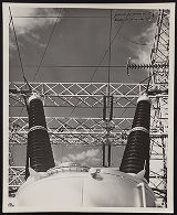 Photograph of electrical transformer at Hoover Dam, Boulder City (Nev.), 1940s