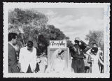 Photograph of mock wedding ceremony at road opening, Pahrump (Nev.), September 24, 1954