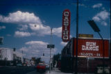 Slide of the Sundance Casino and its neon signs, Winnemucca, Nevada, 1986