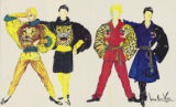 Costume design drawings, yellow, red, blue and black costumes with wild cat motifs, Las Vegas, 1984