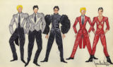 Costume design drawings, black and white tuxedos; beaded black military costume; beaded red...
