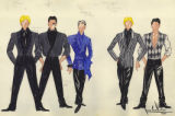 Costume design drawings, blue and black and white beaded jackets and vests, Las Vegas, 1984