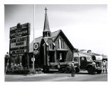Photograph of the Little Church of the West from the Last Frontier Village being moved (Las...