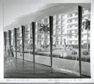 Film negative, artist's rendering of the proposed Hacienda, perspective view of the south court...