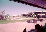 Film transparency of the patio area and swimming pool at Wilbur Clark's Desert Inn (Las Vegas),...