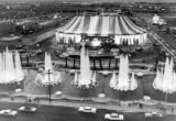 Aerial photograph of the front exterior of Circus Circus (Las Vegas), 1968