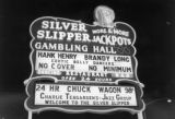 Photograph of a neon sign for the Silver Slipper Gambling Hall (Las Vegas), circa 1960