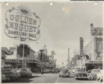 Photograph of the front exterior of the Golden Nugget and Fremont Street (Las Vegas), circa 1951