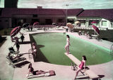 Film transparency of the swimming pool and patio of the Thunderbird Hotel (Las Vegas), circa 1950s