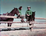 Film transparency of people with horses at the Hotel Last Frontier (Las Vegas), circa 1950s