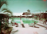 Film transparency of guests at the swimming pool area of Wilbur Clark's Desert Inn (Las Vegas),...
