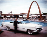 Photograph of Wilbur Clark and Cadillac poolside at the Desert Inn (Las Vegas), mid 1950s