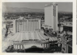 Aerial photograph of Circus Circus after the addition of a second tower, 1986