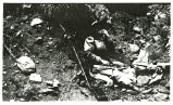 Photograph of a woman eating a sandwich on a hillside, Searchlight (Nev.), 1907