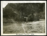Photograph of Sandstone Ranch yard and buildings, Sandstone Canyon (Nev.), 1908
