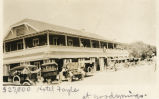 Photograph of cars parked in front of the Hotel Fayle, Goodsprings (Nev.), 1900-1925