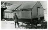 Photograph of Don Finley at Josiah Crowel's Chloride Cliff camp in winter, Beatty (Nev.), 1915