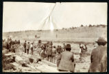 Photograph of men observing railroad construction, Las Vegas (Nev.), 1900-1925