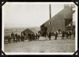 Photograph of horse teams at hoist house, Round Mountain (Nev.), early 1900s
