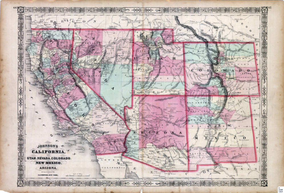 Map of California, Utah, Nevada, Colorado, New Mexico and Arizona ...